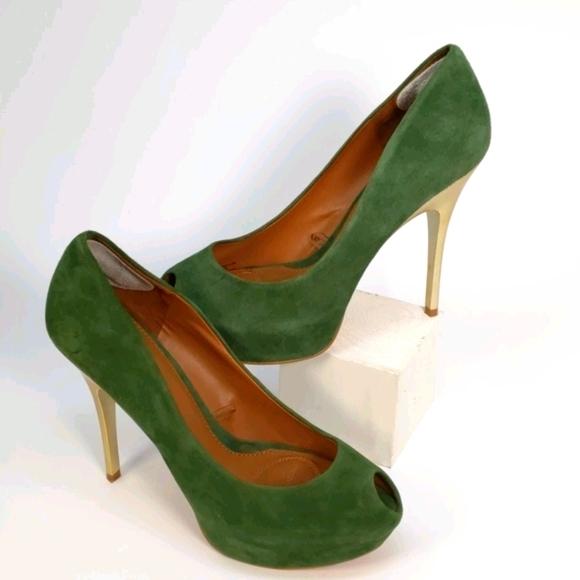 ZARA Green suede peep toe platform heels. Size 10